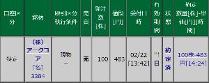3384 - (株)アークコア 100株 483円売り。 買ってから権利落ちはスゴくて、 とうとう今年は権利取らずに、いったん売却。