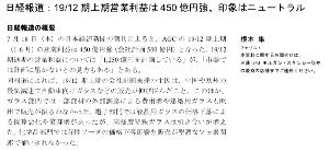 5201 - AGC(株) セクターレポート【国内株式】AGC(5201)[07/18] First Take 日経報道:19