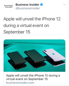 ^GSPC - S&P 500 AAPL の New iPhone 12 のイベントが9月15日になると発表されたよ😉