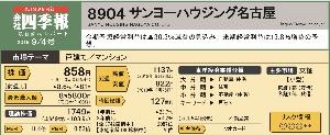 8904 - (株)サンヨーハウジング名古屋 今期予想経常利益は▲30.3%減益の見込み。  来期経常利益は13.8%増益の予 想。  20年8月