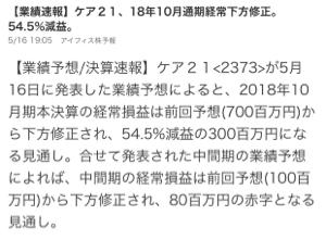 2373 - (株)ケア21 これは酷いぜ‼︎‼︎  何日ストップ安するんだか‼︎