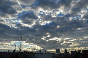息抜きしませんか? 台風が去った 静かな朝を迎えました。  雨雲が朝日を遮っている。