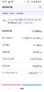 02311202 - グローバル5.5倍バランスファンド(1年決算型) 久しぶりに見たら+10%越えてました。