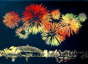 ドアを開けたら シドニー、オペラハウス、橋の花火です(^.^) 竹串みたいペン✒や、プラスチックの棒み たいなもので