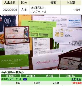 8200 - (株)リンガーハット 第56期株主通信、期末配当金計算書、来年1月31日まで有効の株主優待券が届きました。と言っても500