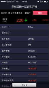 8912 - (株)エリアクエスト 昨日の引けに買ってよかった😭 NISAのこり全て使った༼ꉺლꉺ༽