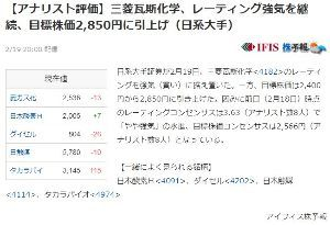 4182 - 三菱ガス化学(株) https://finance.yahoo.co.jp/news/detail/20210219-1
