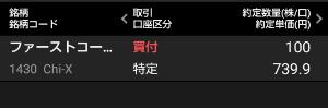 1430 - ファーストコーポレーション(株) Chi-Xで739.9円で買い増し。 チキンだから100株だけ。