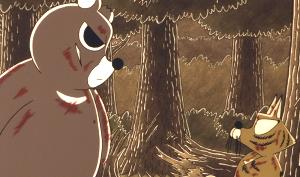 生き物山手線ゲーム 20.ぼのぼの  ヒグマの大将および妻子のヒグマ母子が登場します。いがらしみきお先生はデザインについ