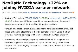 NVDA - エヌビディア エヌビディアとNexOptic Technologyが業務提携したようです。NexOptic Tec