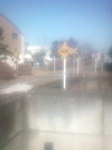 カエル型の水道の蛇口がきわどい場所に付いている 宇都宮市 小学校の裏庭が自動車教習所の様になっている