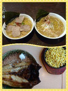 ♪美味しい話♪ 画像は小樽食べた味噌ラーメン🎵( *´艸`)と、 ホッケ焼きに、コーンバター🌽  味噌ラ