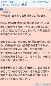 3782 - (株)ディー・ディー・エス 【順調に】というハンネの詐欺師は逃亡しましたよ。別垢の【keisou】ともども詐欺投稿を繰り返してた