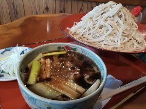 バイクのツーリング先で美味しいB級グルメ 東松山市そば屋敷花月庵の肉汁蕎麦900 円。 普通盛りでこの山盛りでやんすよ❗ 大食いの方は大盛りを