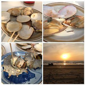バイクのツーリング先で美味しいB級グルメ ちょっと遠いんですが渚ドライブウェイまで1泊で行って来ました 沈む夕陽を見ながらの焼き貝は最高でした