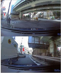 ドライブレコーダー ひやり体験 (静止画版) 上の写真、駐車場から出てくる車がチラリと見えた。 下の写真、こちらの存在に気付かず勢いよく出て来た。