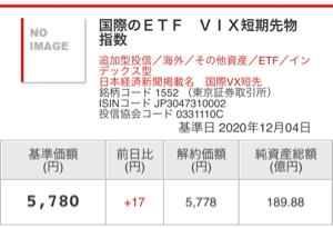 1552 - 国際のETF VIX短期先物指数 基準価額5,780 終値5,760 出来高156,586 薄〰︎ 純資産総額189→189