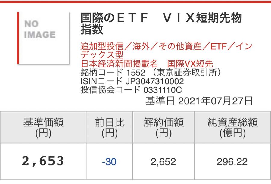 1552 - 国際のETF VIX短期先物指数 基準価格2,653 終値2,689 よしよし😁 出来高1,152,094→1,069,58