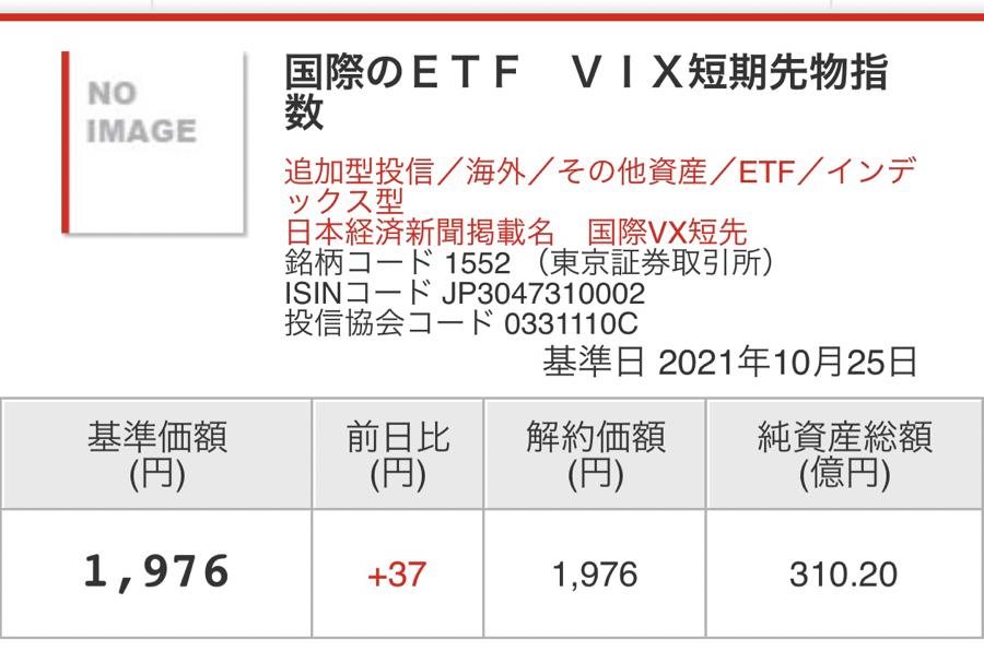 1552 - 国際のETF VIX短期先物指数 基準価格1,976 終値1,968 でぇなぁ67,739ぶん投げたんワ😠 出来高2,495,670&
