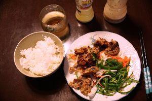 ★★★ 写真しま専科 ★★★ ある日の夕食。 豚肉の生姜炒めと野菜サラダ。 こう見ると粗食だなあ。。。