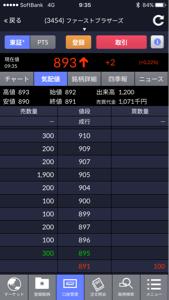 3454 - ファーストブラザーズ(株) はい、905円の見せ板消えたー。