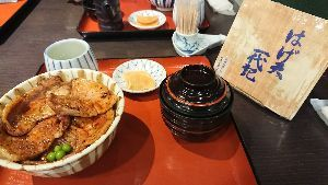 WYIG - JMグローバル・ホールディング ひとみが肉を食べれないから 今回は皆でハゲ天で豚丼 は天丼食べて満足  pepperかかって旨かった