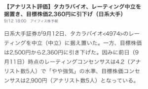 4974 - タカラバイオ(株) わざとらしい引き下げですね〜 アナリスト5名は2900円とよんでます