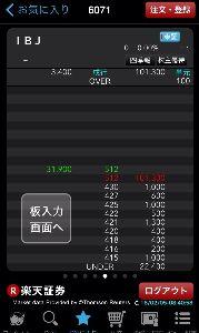 6071 - (株)IBJ 今朝の寄り付き前、数分だけ、こんな感じになりましたね。 株価操作されてるのかな?  詳しい方の意見が