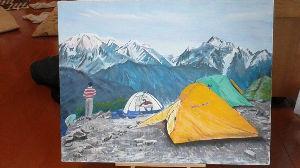 山のアクリル画 書き込み、誠に有難うございます。こちらは製作中です。