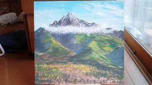 山のアクリル画 最新作です。