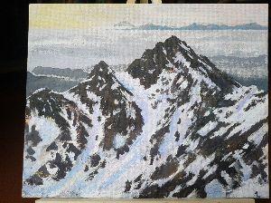 山のアクリル画 今日、完成した絵です。