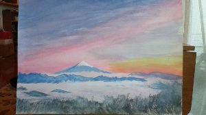 山のアクリル画 紙に水彩で描くと、こんな感じです。