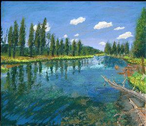 山のアクリル画 板に描いた絵です。