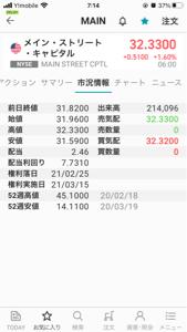 MAIN - メイン・ストリート・キャピタル 21年1/29=1月の最終営業日の終値は31.82 年間配当は2.46ドル 利回りは7.7310%で