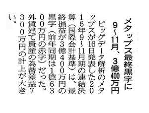 6172 - (株)メタップス 日経朝刊15面より  GOOD