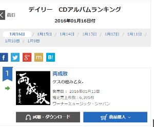 4838 - (株)スペースシャワーネットワーク 「両成敗」オリコンランキング第一位 大ヒット中♪ オリコンCDアルバムデイリーランキング昨日に続き第