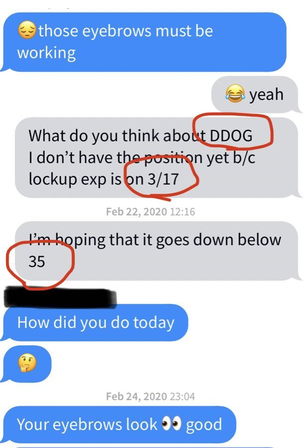 アメ株大好き! DDOGも2020年3月17日のlockup期限切れで$35に下がったら入るって言ってて、ホンマにそ