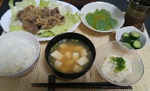 きょうのごはん プルコギ 長芋 刺身こんにゃく 塩だれキュウリ こねぎと豆腐の味噌汁 ごはん 水だし麦茶  多かった