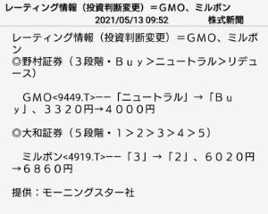 9449 - GMOインターネット(株) これですね。 レーティング出ても… ですが上昇予想は一致という事で、 根拠なしですが単