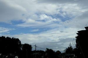 70歳代のバソコン 気温28度の台風が近づいていて雲の動きも早い木曜日の朝。夜には雨が降ったようで地面は濡れているが降っ