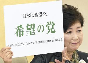 来週のレンジ予想 【小池新党『希望の党』】 9月25日、小池氏が記者会見にて自身が代表を務める「希望の党」を発表した。