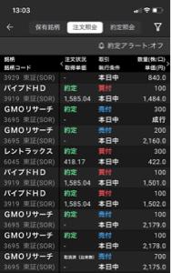 3919 - パイプドHD(株) ちなみに。  昨日、仕込んだGMOリサーチは本日ストップ高。 たった1日で20%抜きで150万円売り