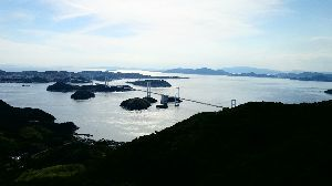 しまなみ海道!走破にむけて^^/ 頂上から、来島海峡大橋を望む^/