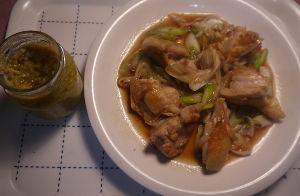 今夜のおかず 鶏もも肉と白ネギのポン酢炒め <材料(2人分)> 鶏もも肉 200g 塩コショウ 少々