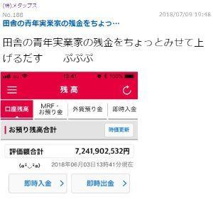 6897 - ツインバード工業(株) 鑑識(tos het)はメタ板においては、口座残高72億円あるとし、見た者を誤認させ買い誘導していた