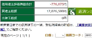 8893 - (株)新日本建物 【SNT信用建玉評価損▲776,075円になっちゃいましたぁ~~~~】 評価損も実現益も正直ベースで