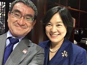 998407 - 日経平均株価 河野大臣と中国の華春瑩報道官と2ショット  かなりやばい