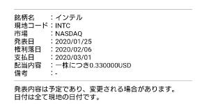 INTC - インテル 今日は配当権利日ですー