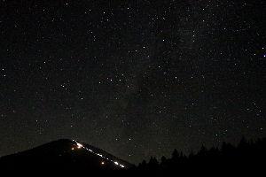 /^д^\富士山好きな人の部屋 富士山の標高1500m付近からの夜景。 今年も九合目あたりの渋滞を避けようと、下山道から登るグループ