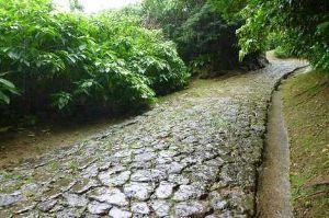 沖縄・石垣・八重山諸島へ 普天満参詣道   普天満参詣道には石畳が残る  琉球王府が整備した主要道「宿道」のひとつの中頭方西海